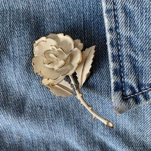 White and Gold Rose Brooch